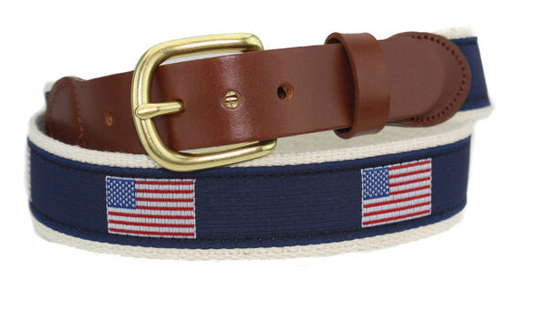 Leather Man Ltd American Flag Motif Belt in Natural