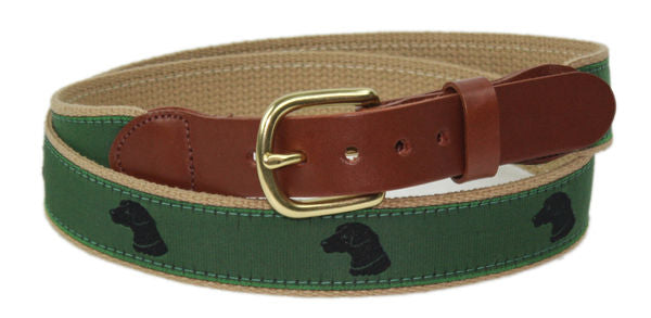 Leather Man Ltd Black Lab Motif Belt In Khaki