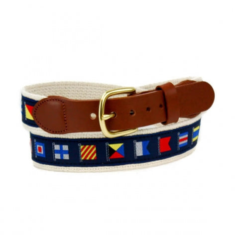 Leather Man Ltd Code Flags Motif Belt in Navy