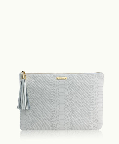 Uber Clutch with Slip Pocket in White Embossed Python Leather