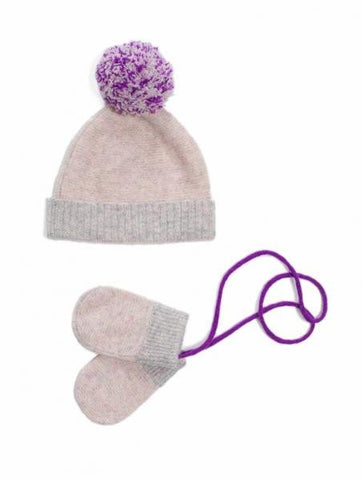Stripe Pom Pom Hat & Mittens in Grey Lilac Multi