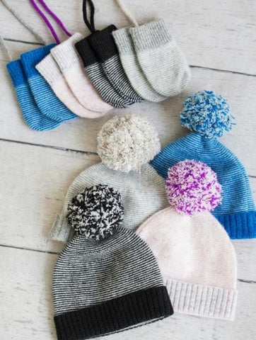 Stripe Pom Pom Hat & Mittens in Grey Multi