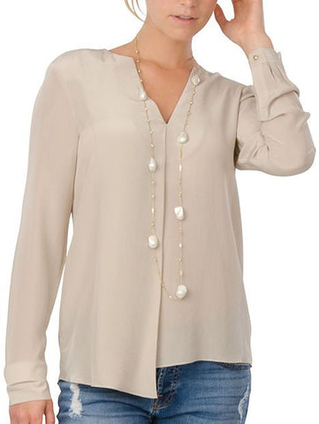 Cortland Park Love V Blouse in Beige