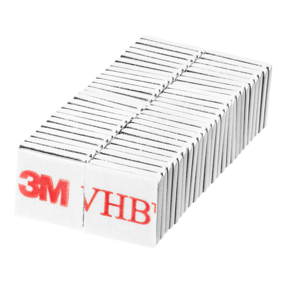 3/8 x 3/8 x 1/16 Inch Neodymium Rare Earth Block Magnets N48 with 3M Self-Adhesive (50 Pack)