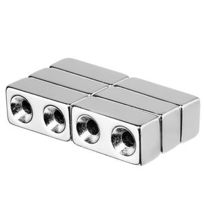 1 x 1/2 x 3/8 Inch Neodymium Rare Earth Countersunk Block Magnets N52 (6 Pack)