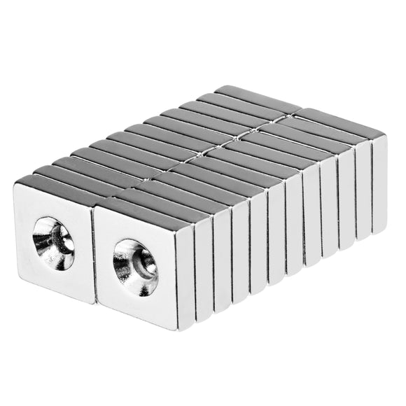 1/2 x 1/2 x 1/8 Inch Neodymium Rare Earth Countersunk Block Magnets N52 (24 Pack)