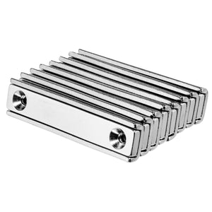 60mm Neodymium Rare Earth Countersunk Channel Magnets N35 (8 Pack)