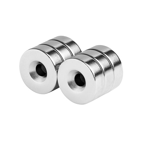 3/4 x 1/4 Inch Neodymium Rare Earth Countersunk Ring Magnets N52 (6 Pack)