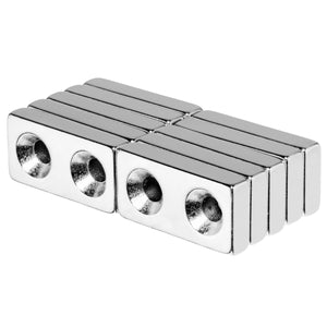 1 x 1/2 x 3/16 Inch Neodymium Rare Earth Countersunk Block Magnets N52 (10 Pack)