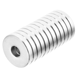 3/4 x 1/4 x 1/8 Inch Strong Neodymium Rare Earth Ring/Donut Magnets N52 (12 Pack)
