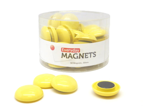 30mm Yellow Plastic Refrigerator Magnets (50 Pack)