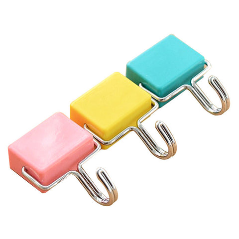 totalElement All-Purpose Magnetic Hooks, Pastel Pink, Yellow, Blue (3 Pack)