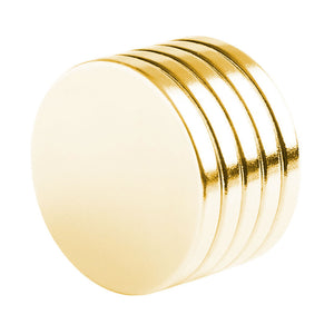 1 x 1/8 Inch Neodymium Rare Earth Gold Plated Therapy Disc Magnets N52 (5 Pack)