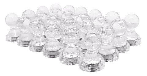 Large Clear Translucent Magnetic Push Pins (24 Pack)