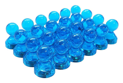 Small Blue Translucent Magnetic Push Pins (24 Pack)