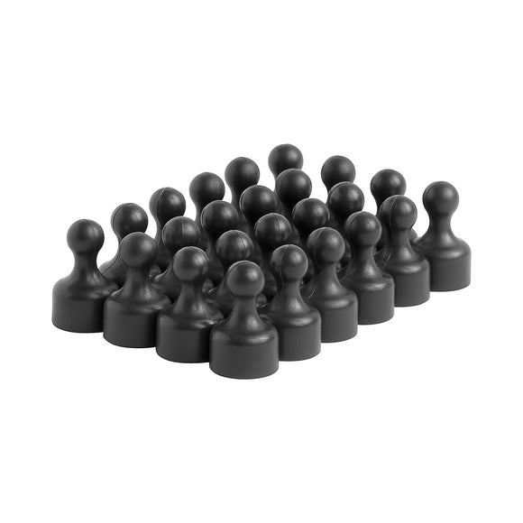 Strong Heavy-Duty Black Plastic Magnetic Push Pins (24 Pack)