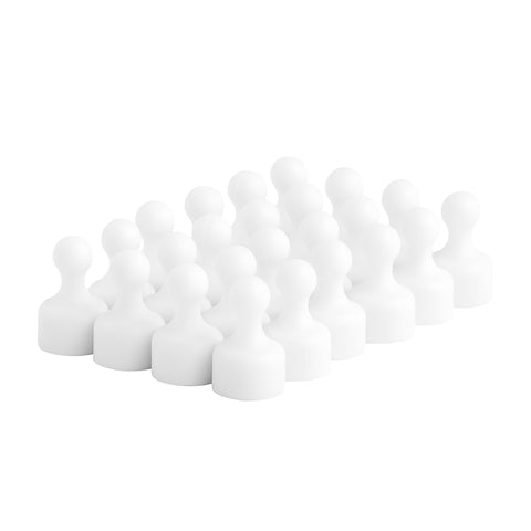 Strong Heavy-Duty White Plastic Magnetic Push Pins (24 Pack)