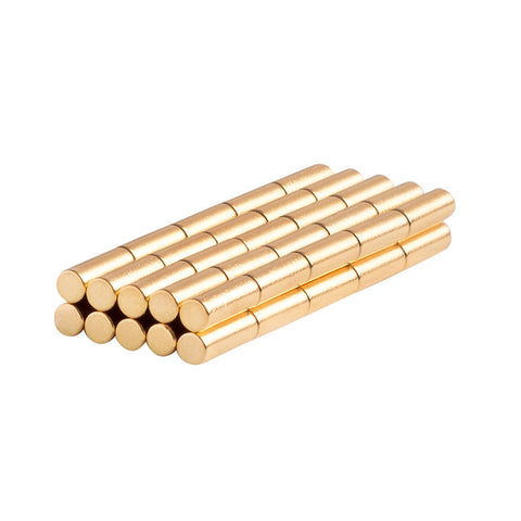 1/8 x 3/8 Inch Neodymium Rare Earth Cylinder/Rod Magnets Gold Coated N48 (50 Pack)