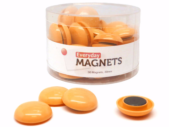 totalElement 30mm Orange Plastic Refrigerator Magnets (50 Pack)
