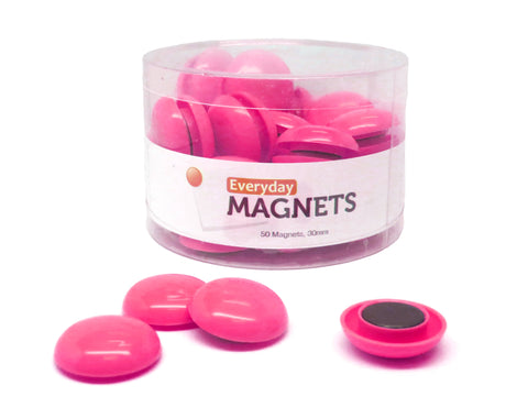 30mm Pink Plastic Refrigerator Magnets (50 Pack)