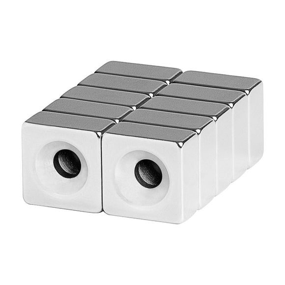 1/2 x 1/2 x 1/4 Inch Neodymium Rare Earth Double-Sided Countersunk Block Magnets N52 (10 Pack)