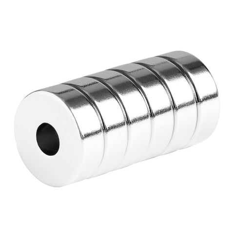 3/4 x 1/4 x 1/4 Inch Strong Neodymium Rare Earth Ring Magnets N52 (6 Pack)