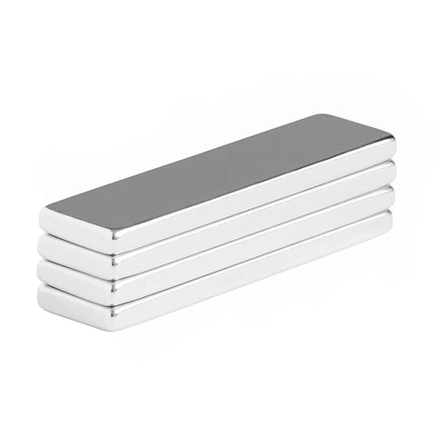 2 x 1/2 x 1/8 Inch Neodymium Rare Earth Bar Magnets N48 (4 Pack)