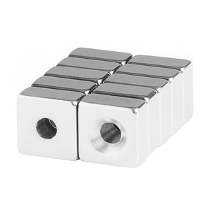 1/2 x 1/2 x 1/4 Inch Neodymium Rare Earth Single Countersunk Block Magnets N48 (10 Pack)