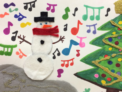 "Musical Snowman, pack of 5""x8"" holiday cards"