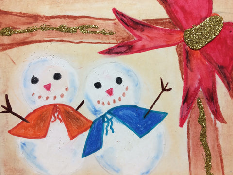 "A Snowman Couple, pack of 5""x 8"""