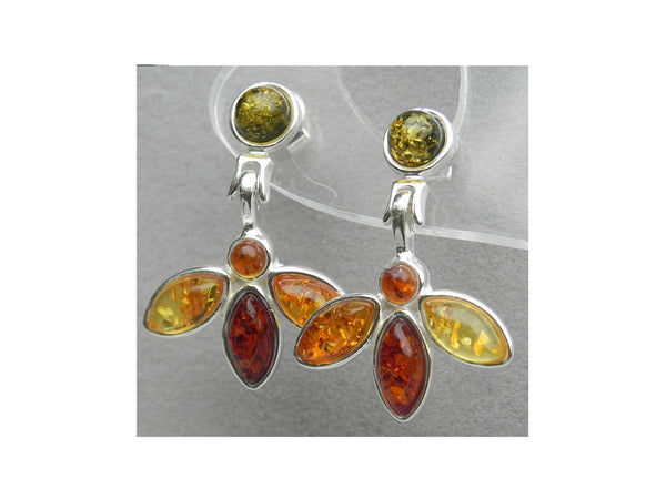 Genuine Baltic Amber Stud Earrings - Amber Flower - 925 Sterling Silver - 3cm...