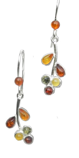 Genuine Baltic Amber Stud Earrings - Multi Color Amber Leaf - 925 Sterling Si...