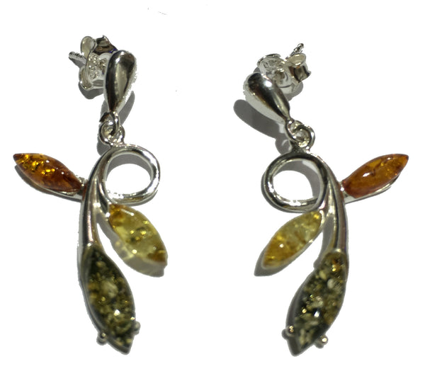 Genuine Baltic Amber Earrings - Multi Color Amber Leaf - 925 Sterling Silver ...