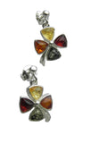 Genuine Baltic Amber Earrings - Multi Color Amber Cross - 925 Sterling Silver...