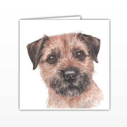 Border Terrier Dog Greeting Card - by UK Artist Christine Varley's Original Watercolor painting