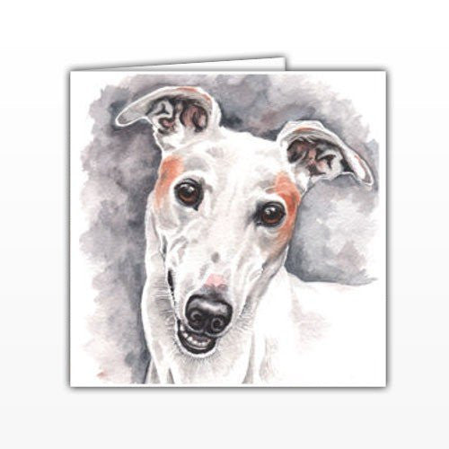 Grehound Dog Greeting Card - by UK Artist Christine Varley's Original Watercolor painting