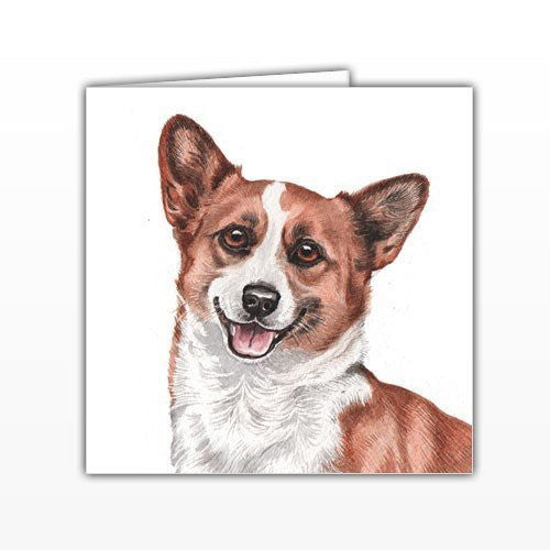Corgi Dog Greeting Card - by UK Artist Christine Varley's Original Watercolor painting