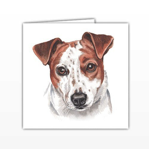Jack Russell Dog Greeting Card - by UK Artist Christine Varley's Original Watercolor painting