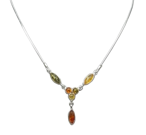 Genuine Baltic Amber Necklace - Multi Color Amber Oval and Round Stones - 925...