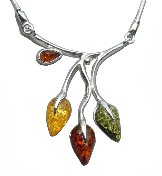 Genuine Baltic Amber Necklace - Multi Color Amber Flower Bud Pattern - 925 St...