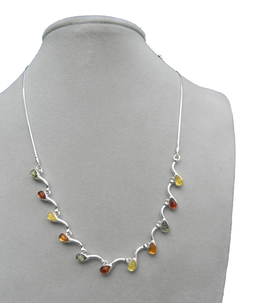 Genuine Baltic Amber Necklace - Multi Color Amber Leafy Chain - 925 Sterling ...
