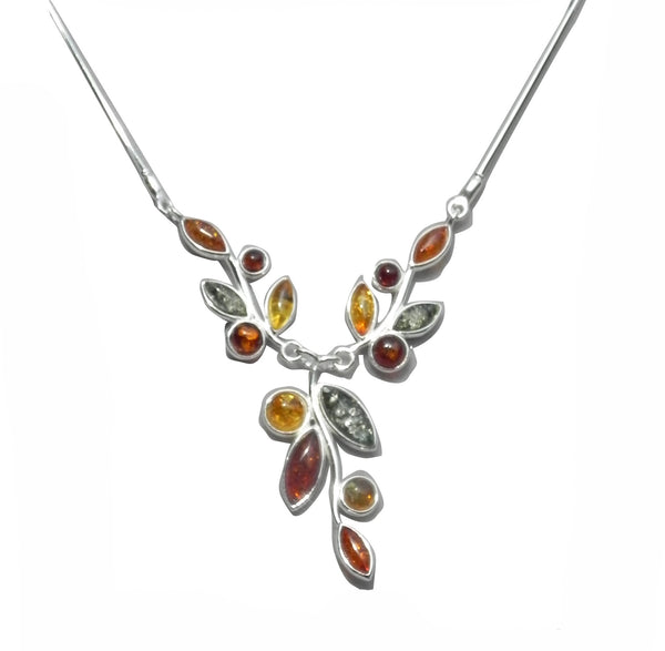 Genuine Baltic Amber Necklace - Multi Color Amber Flowery Pattern - 925 Sterl...