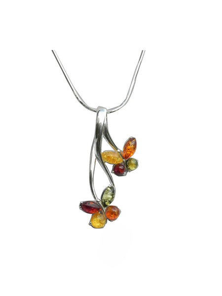 Genuine Baltic Amber Necklace - Multi Color Amber Double Butterfly Pendent - ...