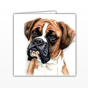Boxer Dog Greeting card - - by UK Artist Christine Varley's Original Watercolor painting