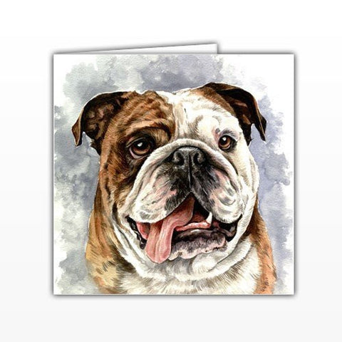 British Bulldog Greeting card - by UK Artist Christine Varley's Original Watercolor painting