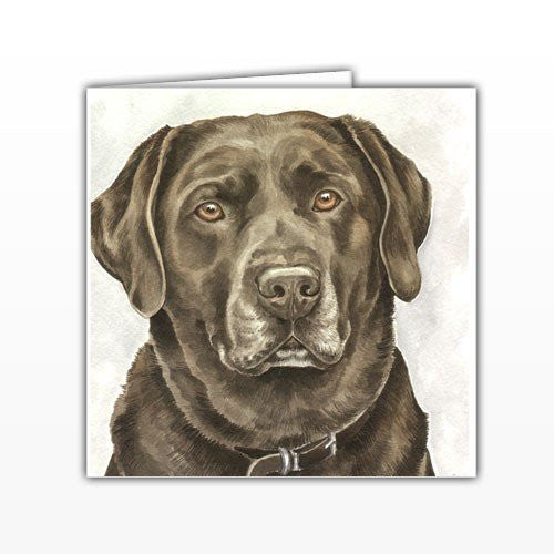Chocolate Labrador Dog Greeting Card - by UK Artist Christine Varley's Original Watercolor painting