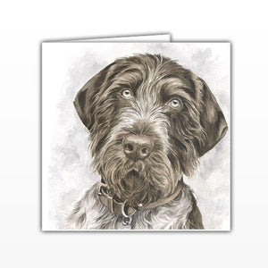 German Shorthaired Pointer Dog Greeting Card - by UK Artist Christine Varley's Original Watercolor painting