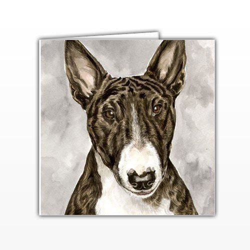 English Bull Terrier Dog Greeting Card - by UK Artist Christine Varley's Original Watercolor painting