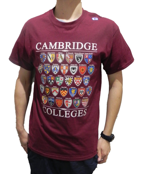 Cambridge Colleges T-shirt - Maroon - Colleges from the Famous City of Cambridge, England