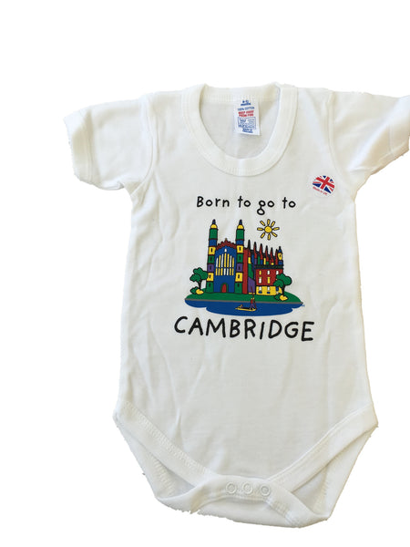 Born to go to Cambridge, Baby Short Sleeve Bodysuit - Cambridge Apparel
